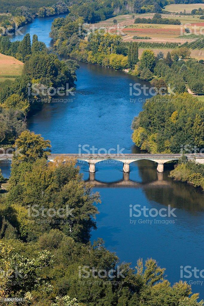 The bridge in Domme city stock photo