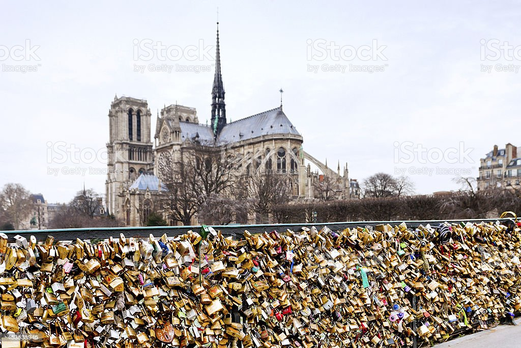 The bridge in Paris with love padlocks on it stock photo