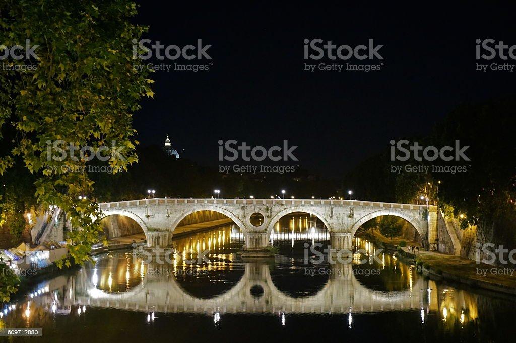 The bridge in the night stock photo