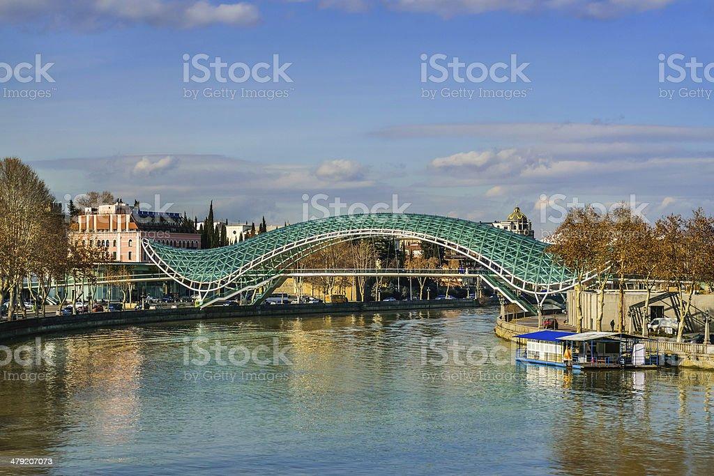 The Bridge of Peace over Mtkvari (Kura) River Tbilisi Georgia stock photo
