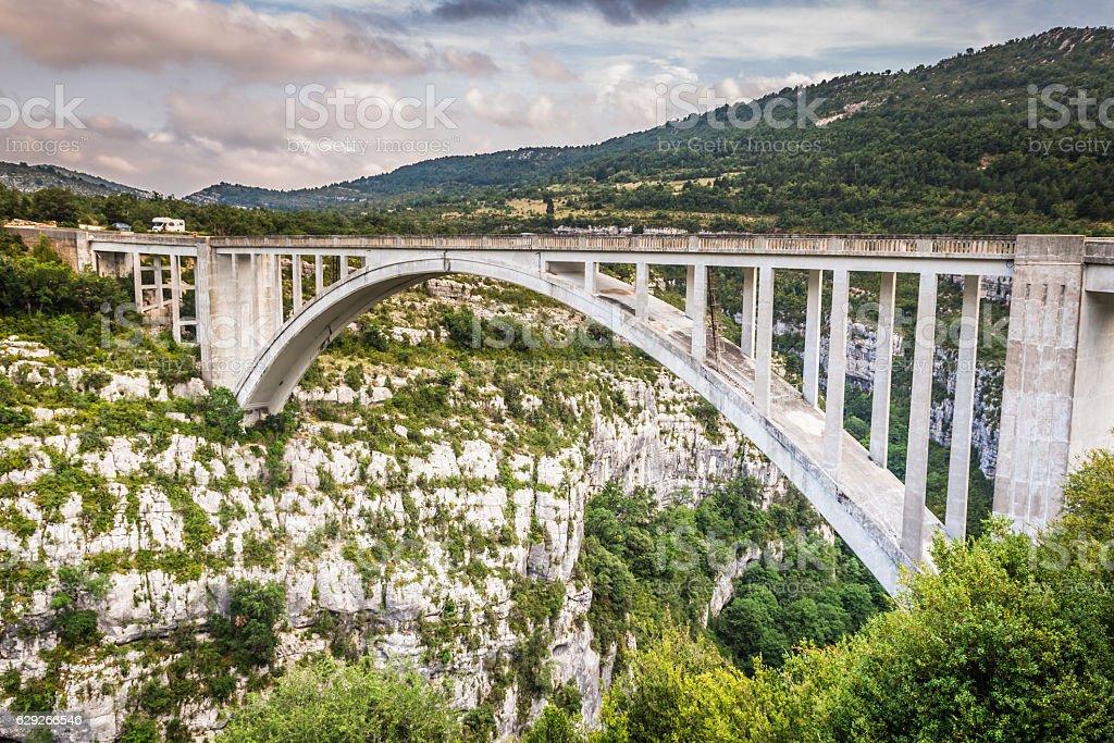 The bridge of the Artuby River, Verdon Gorge, France stock photo