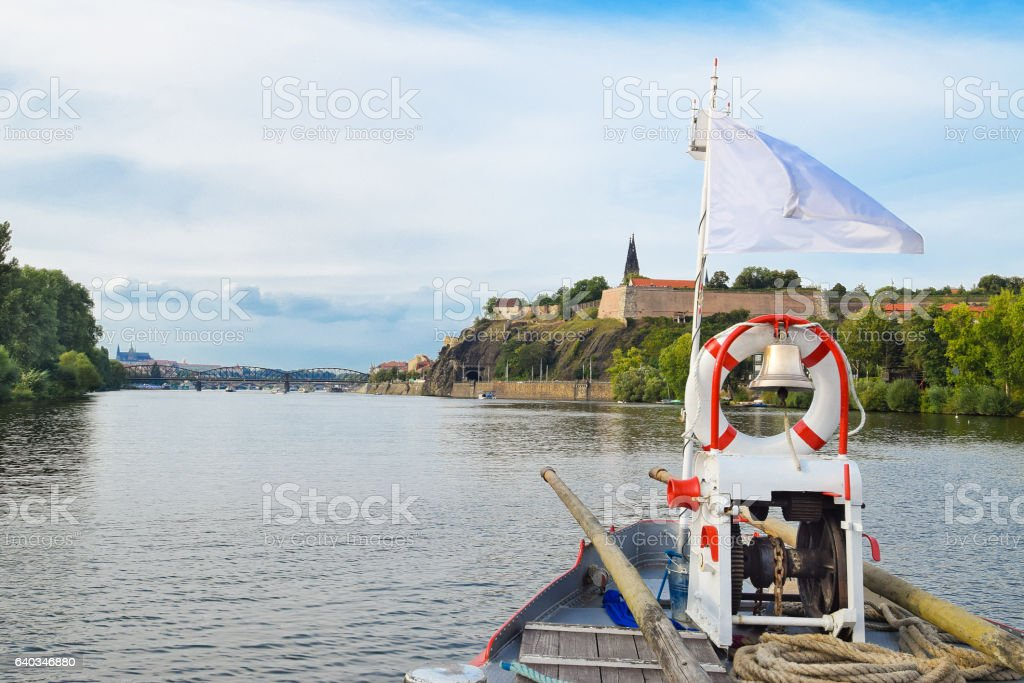The bridge of the boat on the Vltava river, Prague, stock photo