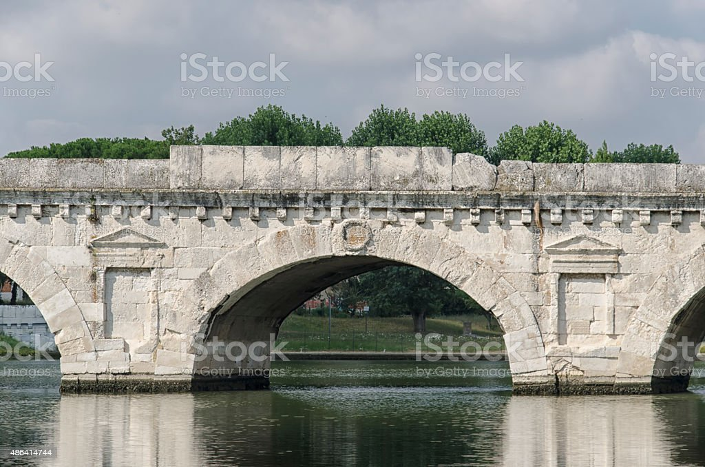 The Bridge of Tiberius in Rimini stock photo