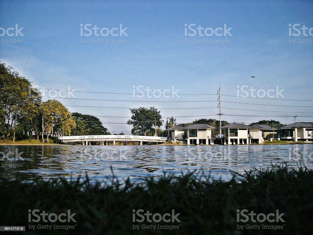 the bridge on river stock photo