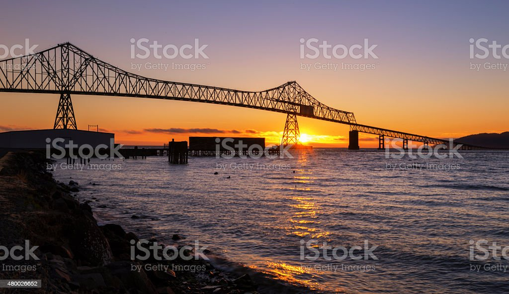 The Bridge over Columbia River stock photo