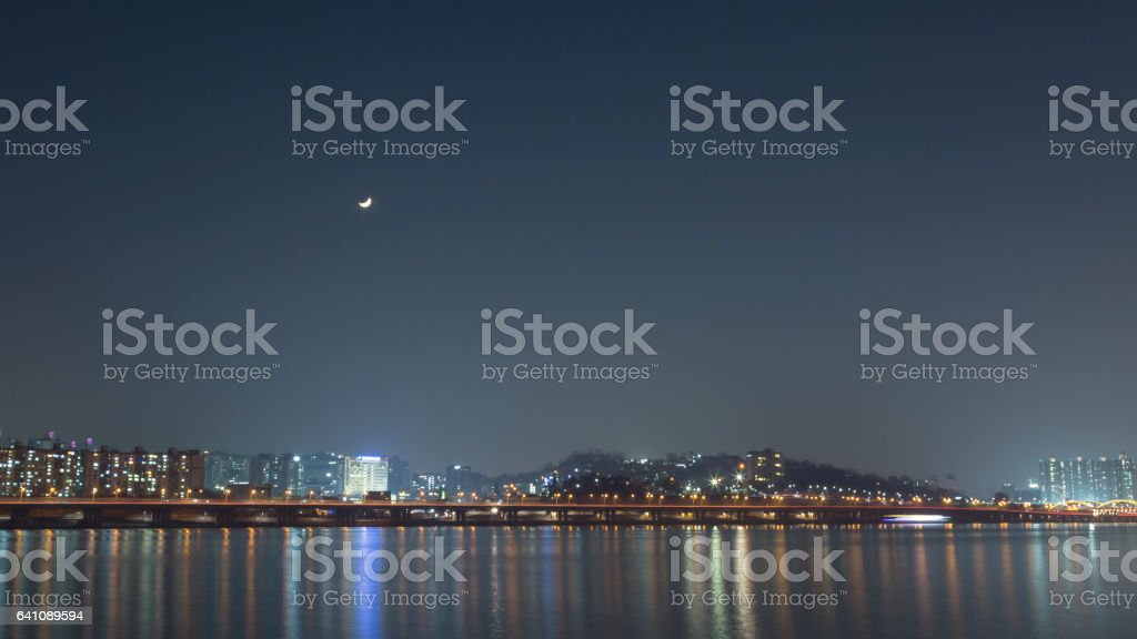 the bridge over the river. Evening or night and moon dark noon stock photo