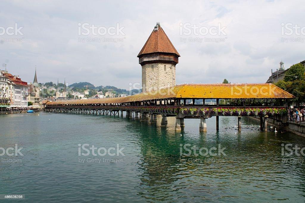 The bridge over the river stock photo