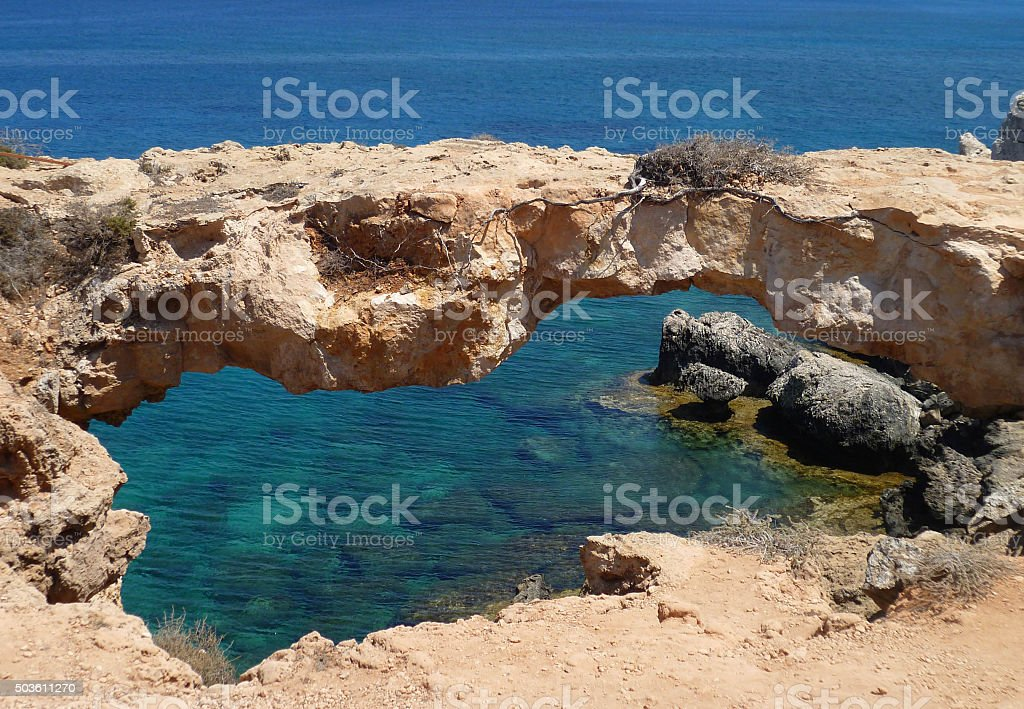 The bridge sinners in the Cape Greco. Republic Of Cyprus stock photo