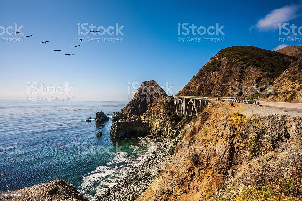 The bridge - viaduct along the Pacific coast stock photo