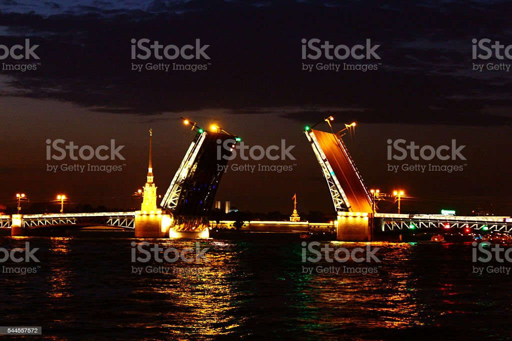 The bridges on the River Neva in St. Petersburg stock photo