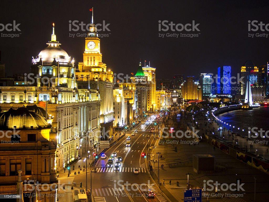The brightly illuminated landmark of Shanghai stock photo