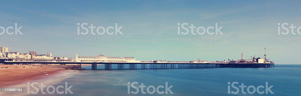 The Brighton Beach and pier panorama stock photo