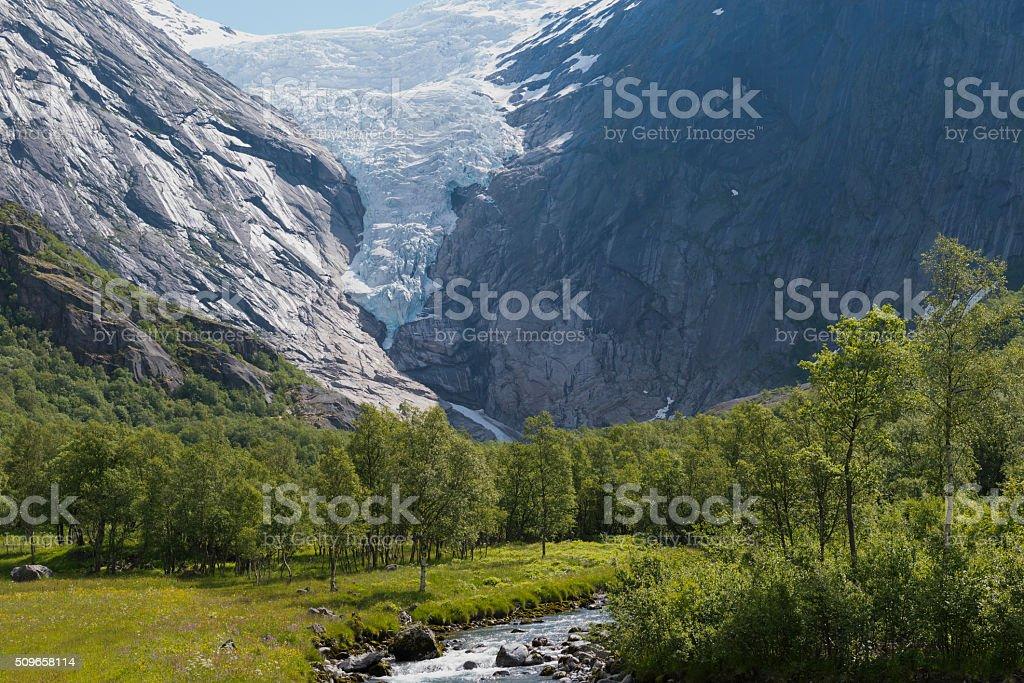 The Briksdal glacier - Olden, Norway stock photo