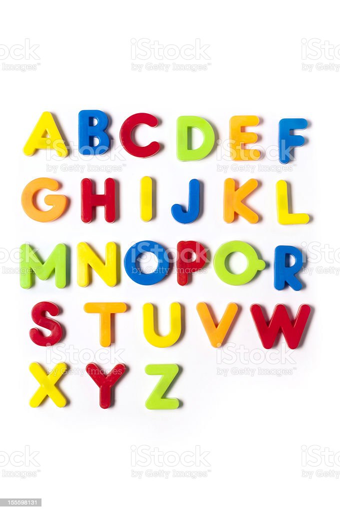 The British alphabet letters in plastic toy characters, white background stock photo