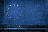 The British exit from eurozone Brexit- European Union flag