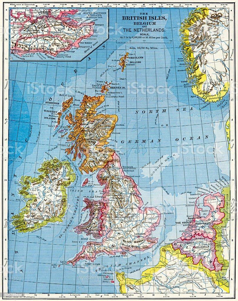 The British Isles, Belgium, And The Netherlands Map 1883 stock photo