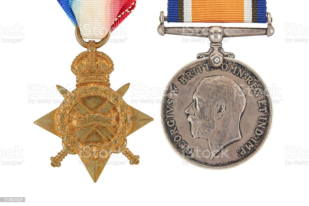 The British War Medals, 1914-18 with ribbon stock photo