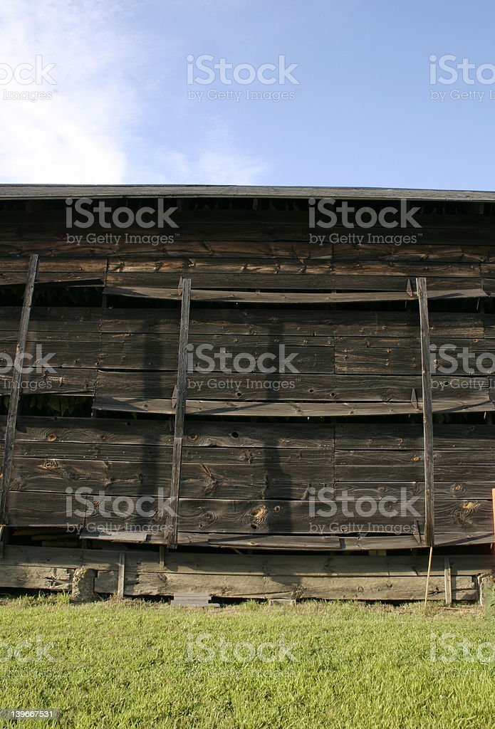 The Broad Side of a Barn - Tobacco Barn in MA stock photo