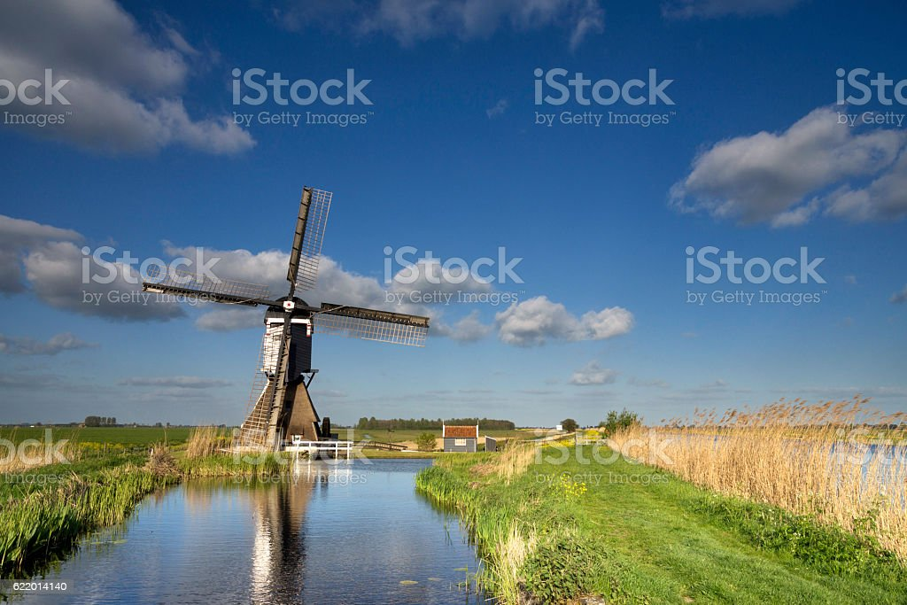 The Broekmolen windmill near Streefkerk stock photo
