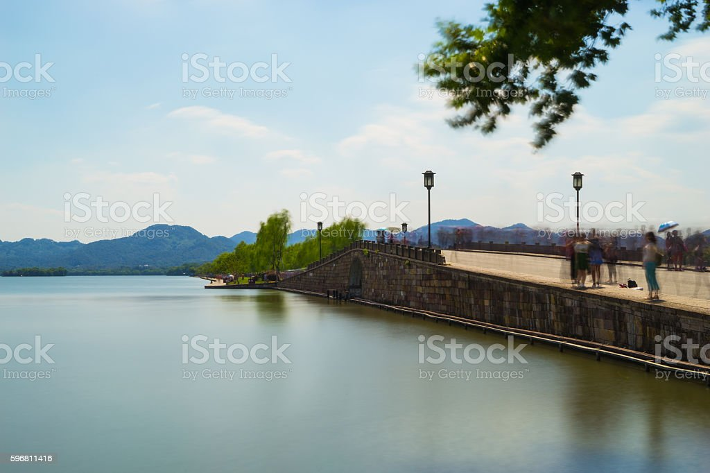 The Broken Bridge of West Lake stock photo