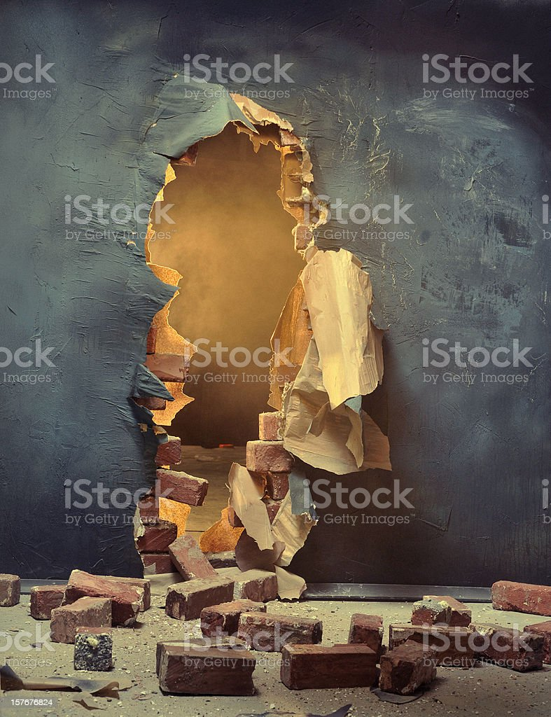 The broken wall stock photo