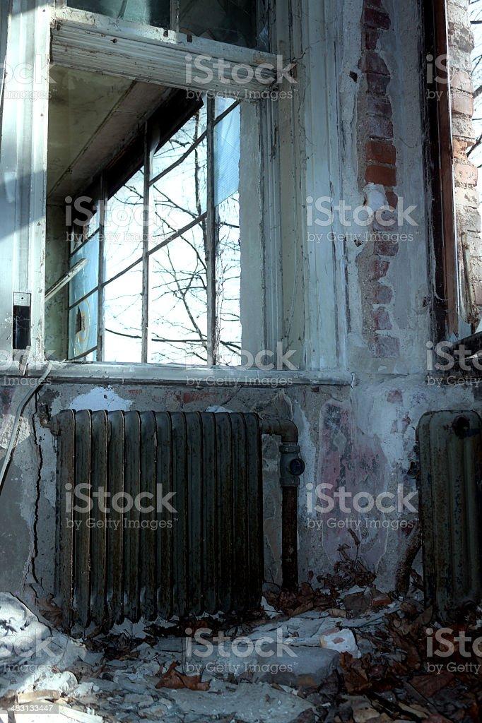 the broken window stock photo