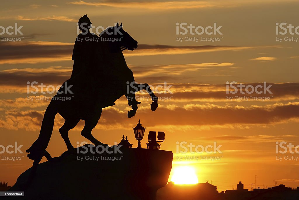 The Bronze Horseman Silhouette (St. Petersburg, Russia) stock photo