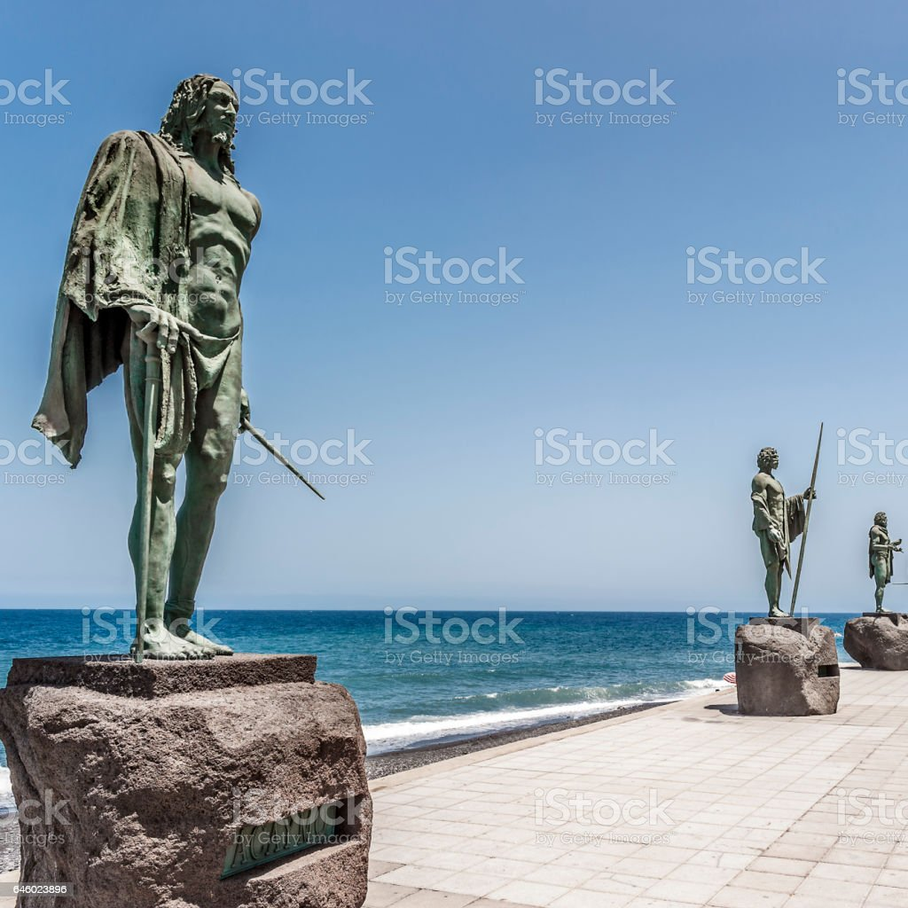 The bronze statue of the legendary Aboriginal leaders - Guanche. stock photo