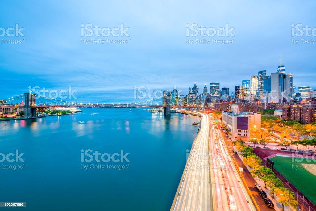 The Brooklyn Bridge and the Manhattan at dusk stock photo