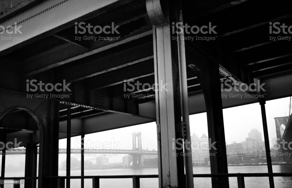 The Brooklyng Bridge and Manhattan Bridge from FDR Drive stock photo