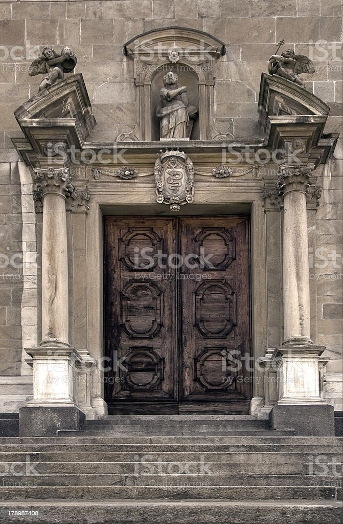 the brown gate  in  bellinzona stock photo