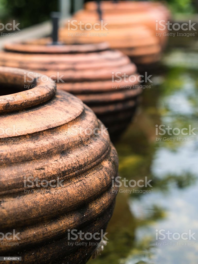 The Brown Pottery Earthware stock photo