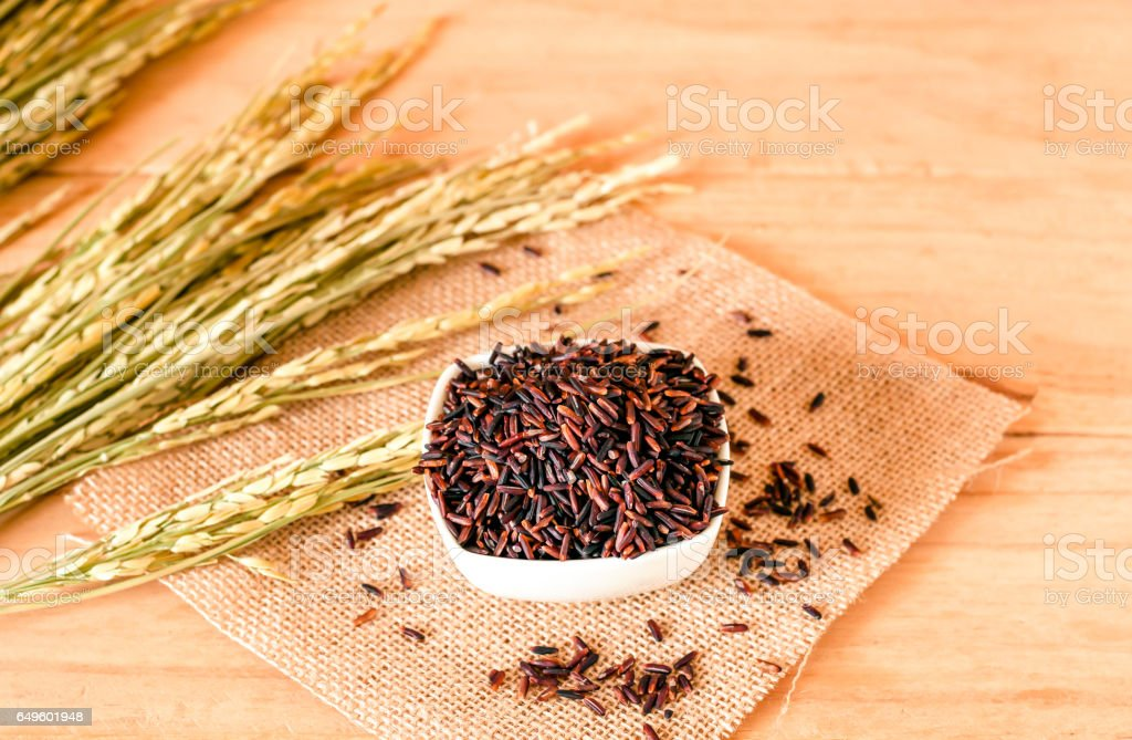 the brown raw rice in bowl with  dried rice plant on wooden table background. stock photo