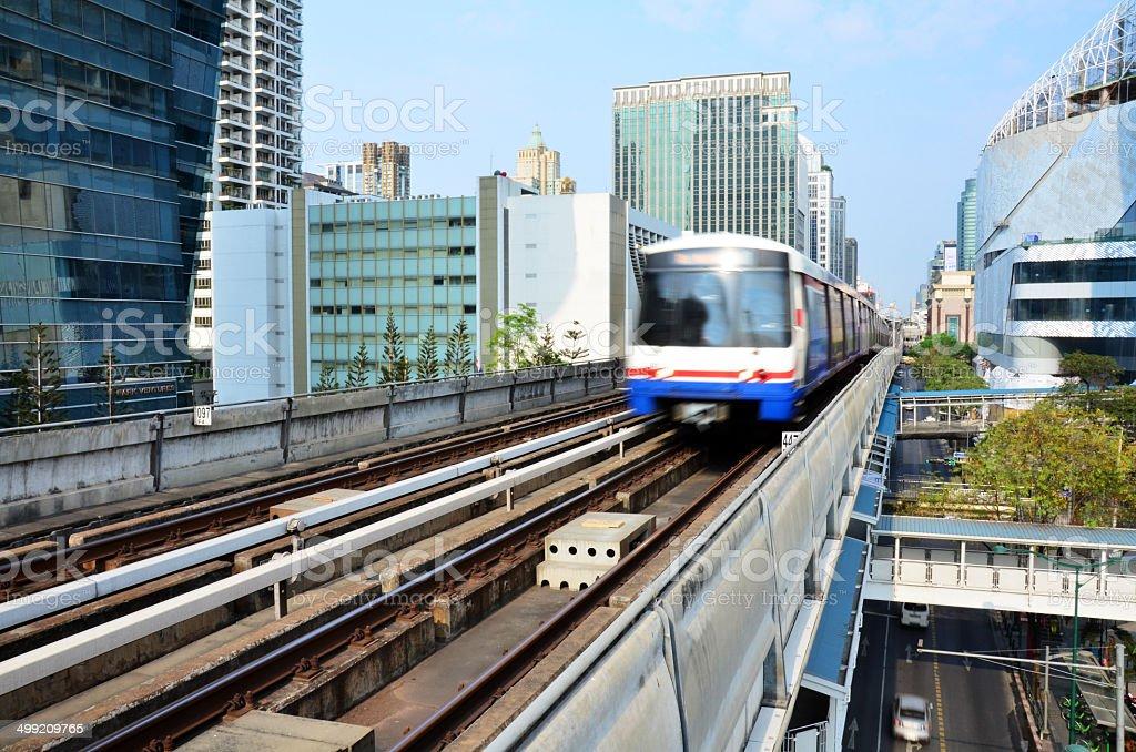 The BTS Skytrain on Railway  at Bangkok Thailand stock photo