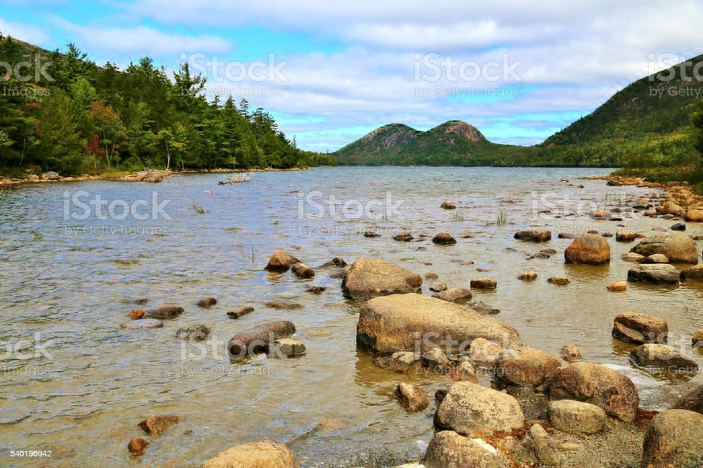 The 'Bubbles' at Jordon Pond in Acadia National Park stock photo