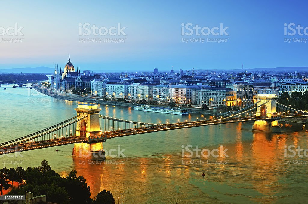 The Budapest skyline lit up during the evening stock photo