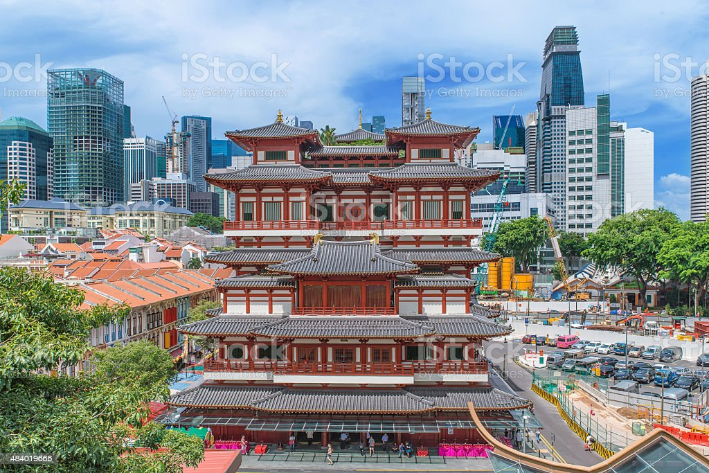 The Buddha Tooth Relic Temple in Singapore's Chinatown stock photo