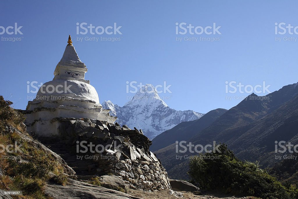 The Buddhist Chorten in the mountains of Nepal stock photo