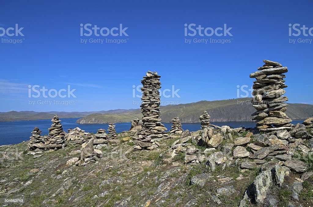 The buddhist traditional stone pyramids. stock photo