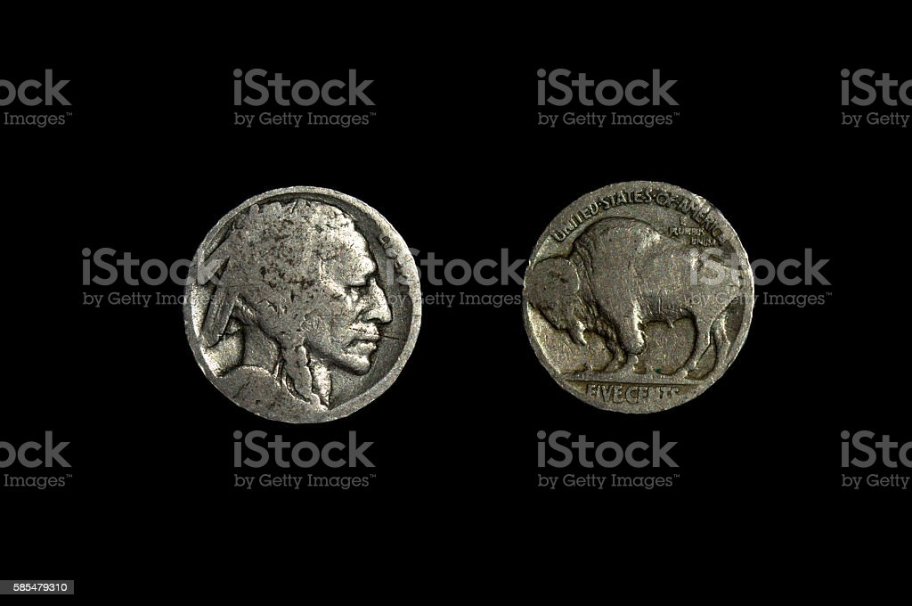 The Buffalo Nickel, AKA The Indian Head Nickel stock photo