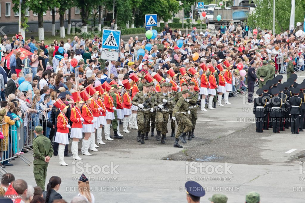 The build of troops in the main square of the city on the occasion of the parade on victory day stock photo