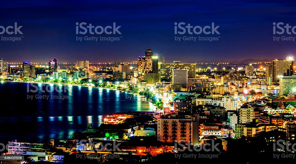 The building and skyscrapers in twilight time royalty-free stock photo