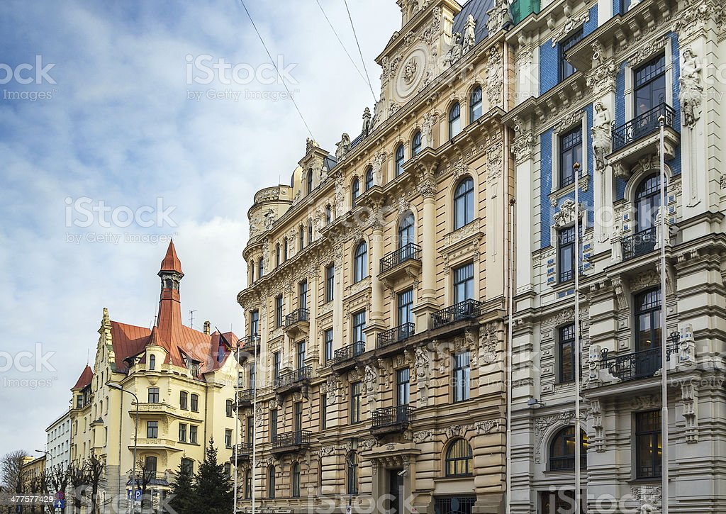 the building in Art Nouveau style, Riga stock photo