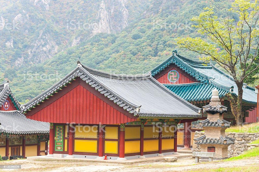 The building of Buddhist Sinheungsa Temple in Seoraksan National stock photo