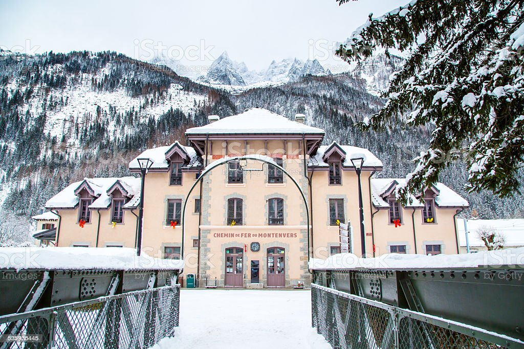 The building of Montenvers railway station in winter stock photo