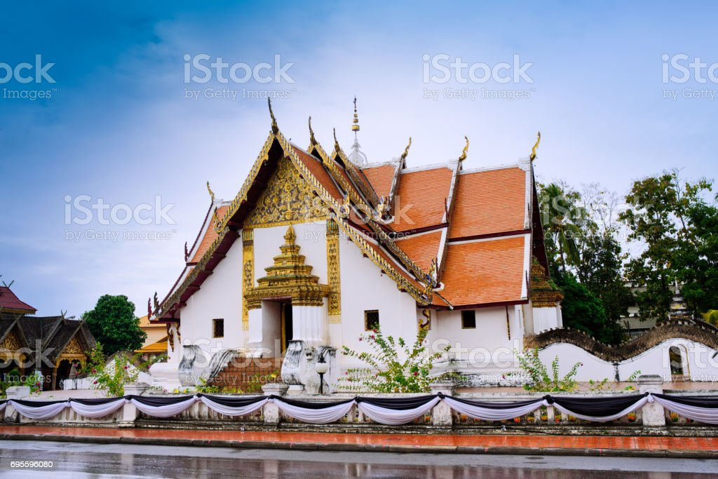 The building of Phu Mintr temple in Thailand stock photo