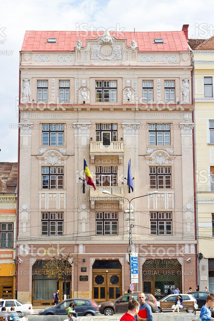 The building of Romanian National Bank, Cluj-Napoca stock photo