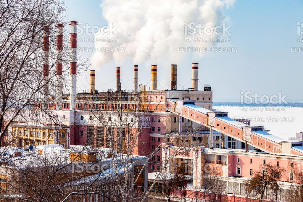 The building of Samara GRES in winter sunny day in Samara, Russia stock photo