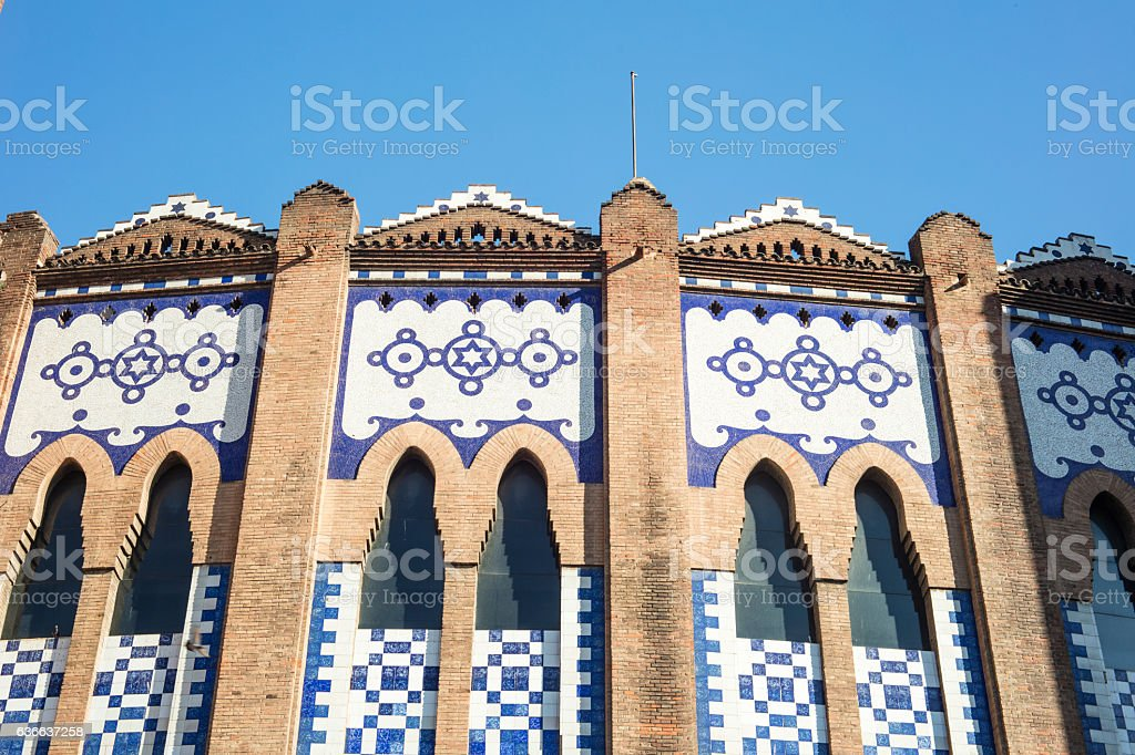 The bullfighting ring arena, known as La Monumental, in Barcelona stock photo