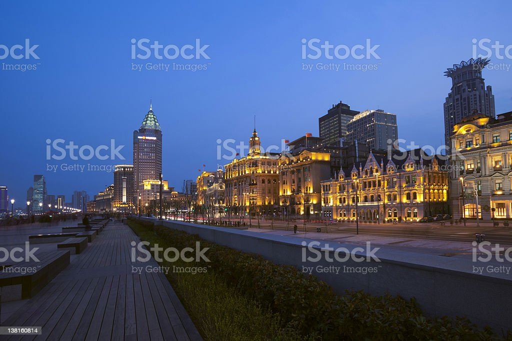 The bund of Shanghai night royalty-free stock photo